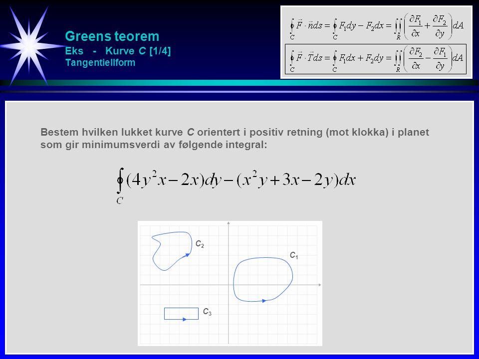 Greens teorem Eks - Kurve C [1/4] Tangentiellform Bestem hvilken lukket kurve C orientert i positiv retning (mot klokka) i planet som gir minimumsverd