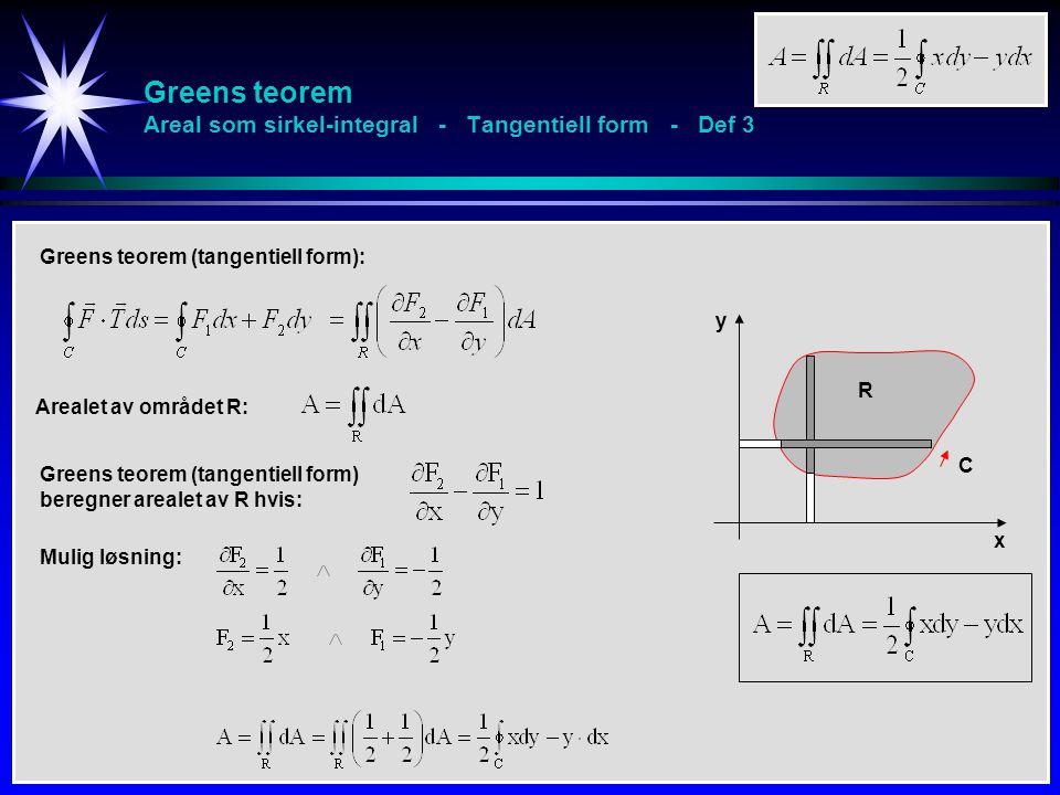 Greens teorem Areal som sirkel-integral - Tangentiell form - Def 3 Arealet av området R: Greens teorem (tangentiell form) beregner arealet av R hvis: