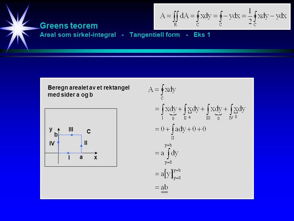 Greens teorem Areal som sirkel-integral - Tangentiell form - Eks 1 x y C a b I II III IV Beregn arealet av et rektangel med sider a og b