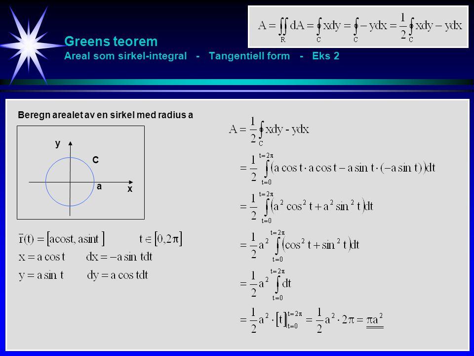 Greens teorem Areal som sirkel-integral - Tangentiell form - Eks 2 Beregn arealet av en sirkel med radius a x y C a