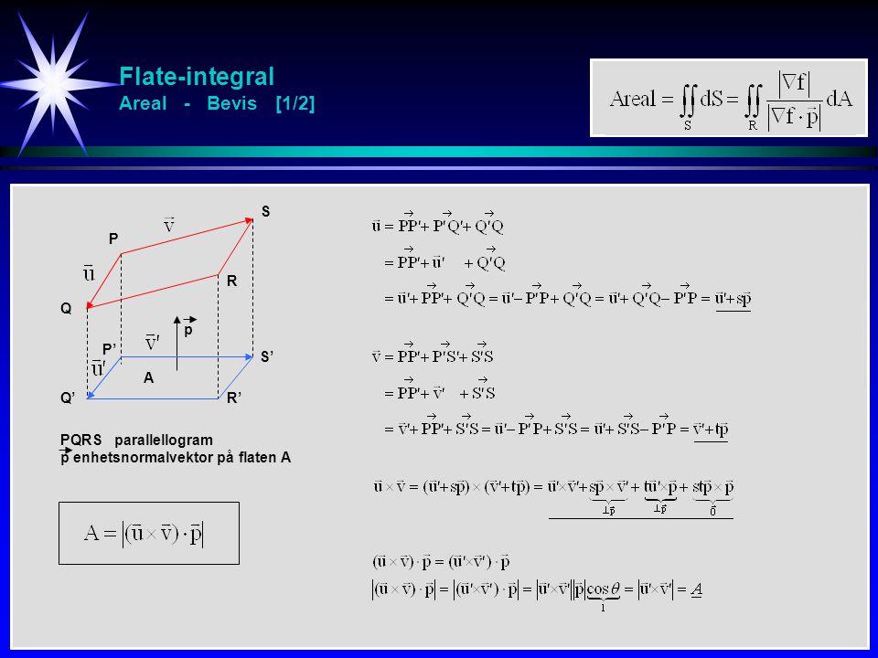 Flate-integral Areal - Bevis [1/2] P A p Q R S PQRS parallellogram p enhetsnormalvektor på flaten A P' Q'R' S'