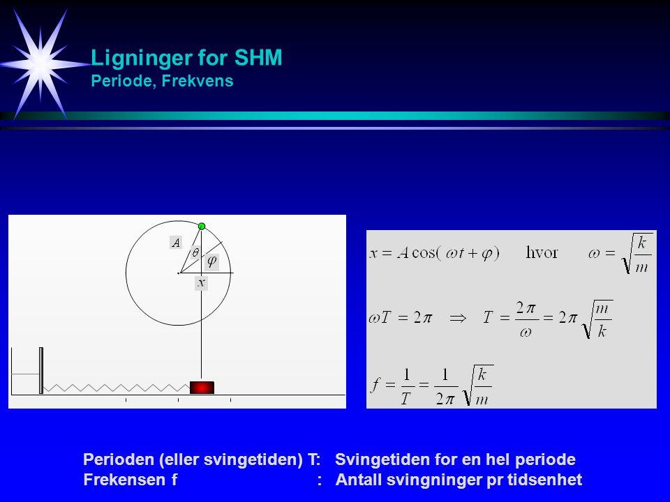 Ligninger for SHM Periode, Frekvens Perioden (eller svingetiden) T: Svingetiden for en hel periode Frekensen f : Antall svingninger pr tidsenhet