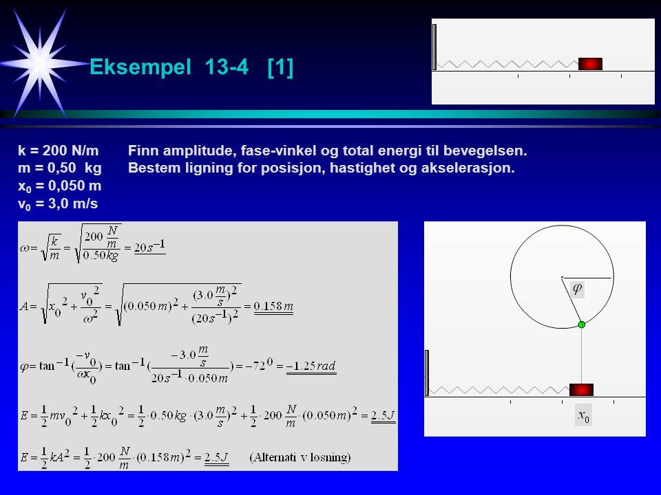 Eksempel 13-4 [1] k = 200 N/mFinn amplitude, fase-vinkel og total energi til bevegelsen. m = 0,50 kgBestem ligning for posisjon, hastighet og akselera
