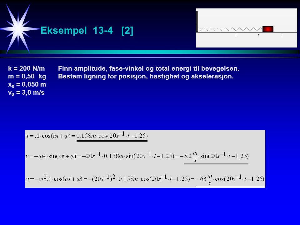 Eksempel 13-4 [2] k = 200 N/mFinn amplitude, fase-vinkel og total energi til bevegelsen. m = 0,50 kgBestem ligning for posisjon, hastighet og akselera
