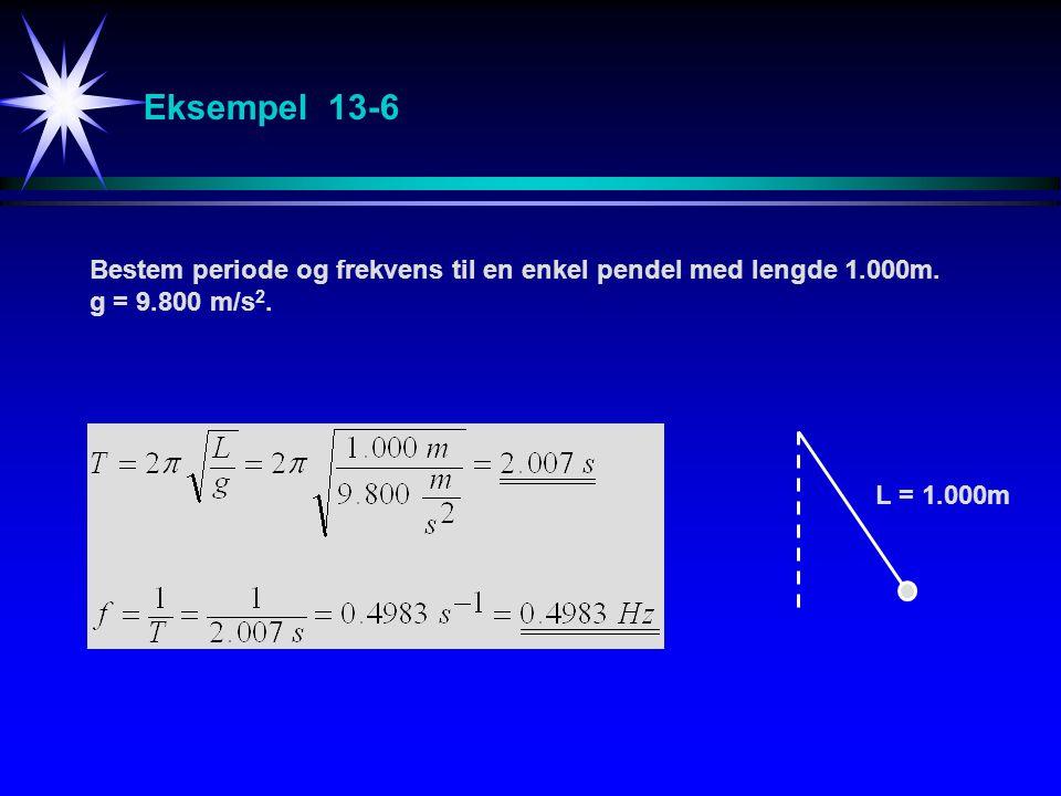 Eksempel 13-6 Bestem periode og frekvens til en enkel pendel med lengde 1.000m. g = 9.800 m/s 2. L = 1.000m