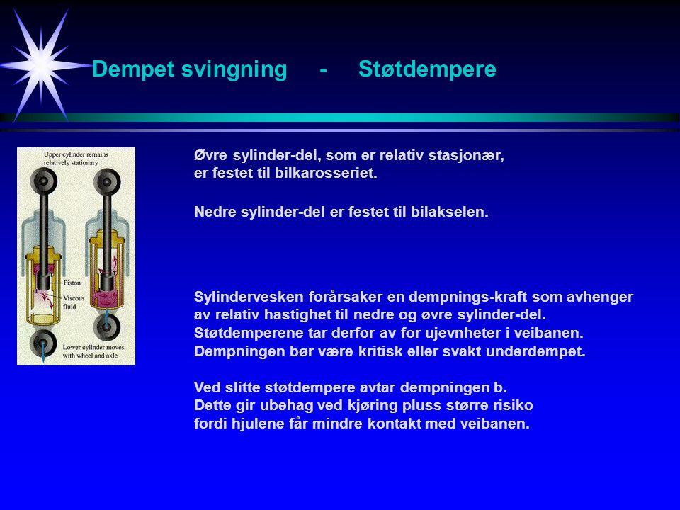 Dempet svingning - Støtdempere Øvre sylinder-del, som er relativ stasjonær, er festet til bilkarosseriet. Nedre sylinder-del er festet til bilakselen.