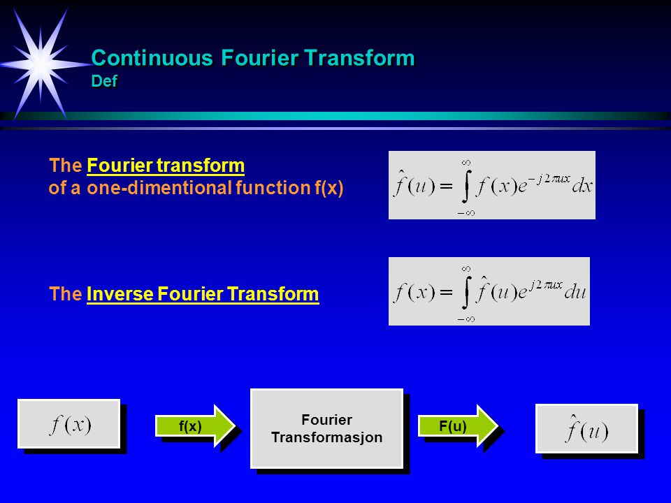 Continuous Fourier Transform Def The Fourier transform of a one-dimentional function f(x) The Inverse Fourier Transform Fourier Transformasjon Fourier