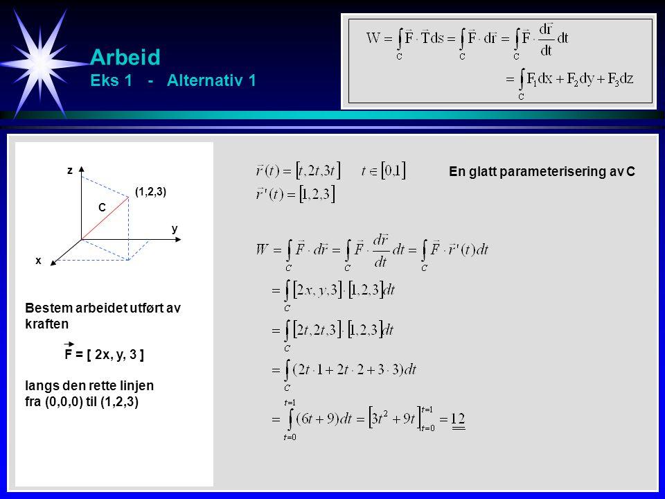 Arbeid Eks 1 - Alternativ 1 x y z C Bestem arbeidet utført av kraften F = [ 2x, y, 3 ] langs den rette linjen fra (0,0,0) til (1,2,3) (1,2,3) En glatt