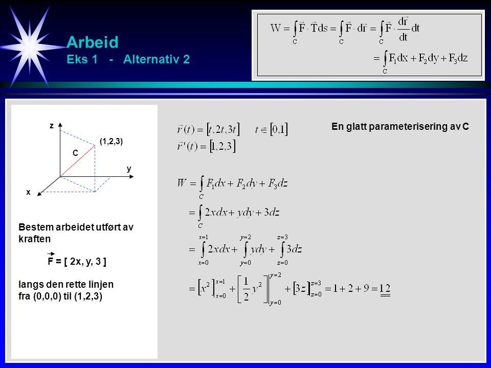 Arbeid Eks 1 - Alternativ 2 x y z C Bestem arbeidet utført av kraften F = [ 2x, y, 3 ] langs den rette linjen fra (0,0,0) til (1,2,3) (1,2,3) En glatt