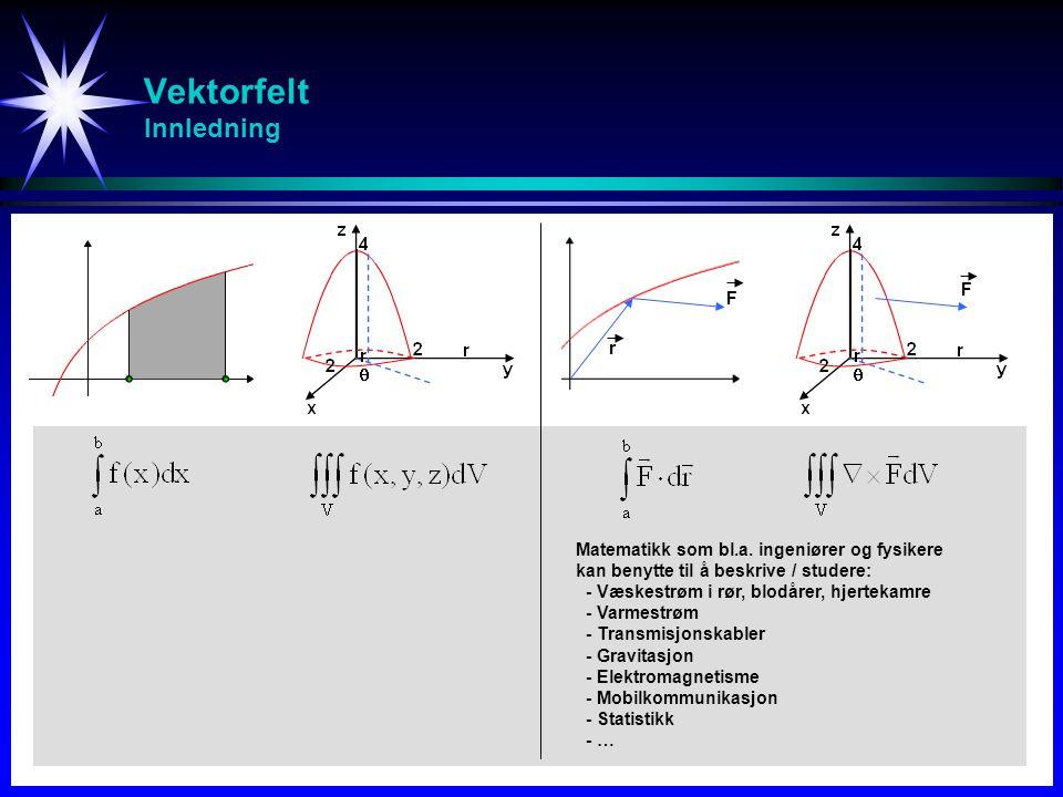 Vektorfelt Innhold Linje-integral Vektorfelt, arbeid, sirkulasjon of fluks Vei-uavhengighet, potensial-funksjon, og konservative felt Flate-integraler og flate-areal Parameteriserte flater Greens teorem Stokes teorem Divergens teorem