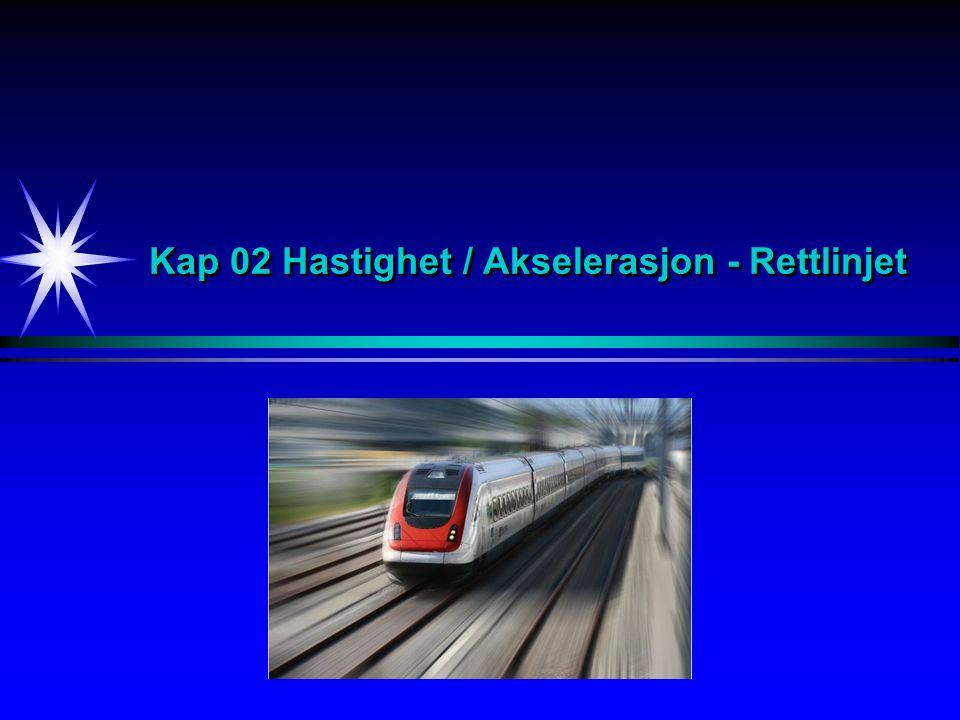 Hastighet - Akselerasjon Eks 2.6 [2/7] En bil kjører langs en rett vei (x-aksen).