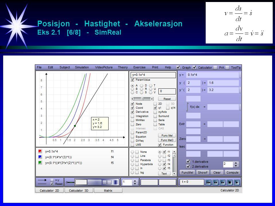 Posisjon - Hastighet - Akselerasjon Eks 2.1 [6/8] - SimReal