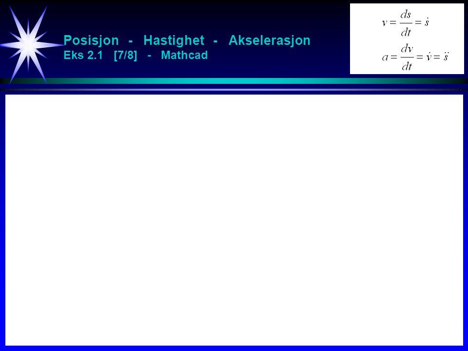 Posisjon - Hastighet - Akselerasjon Eks 2.1 [7/8] - Mathcad