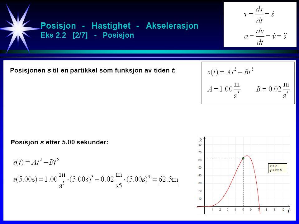 Posisjon - Hastighet - Akselerasjon Eks 2.2 [2/7] - Posisjon Posisjonen s til en partikkel som funksjon av tiden t: Posisjon s etter 5.00 sekunder: