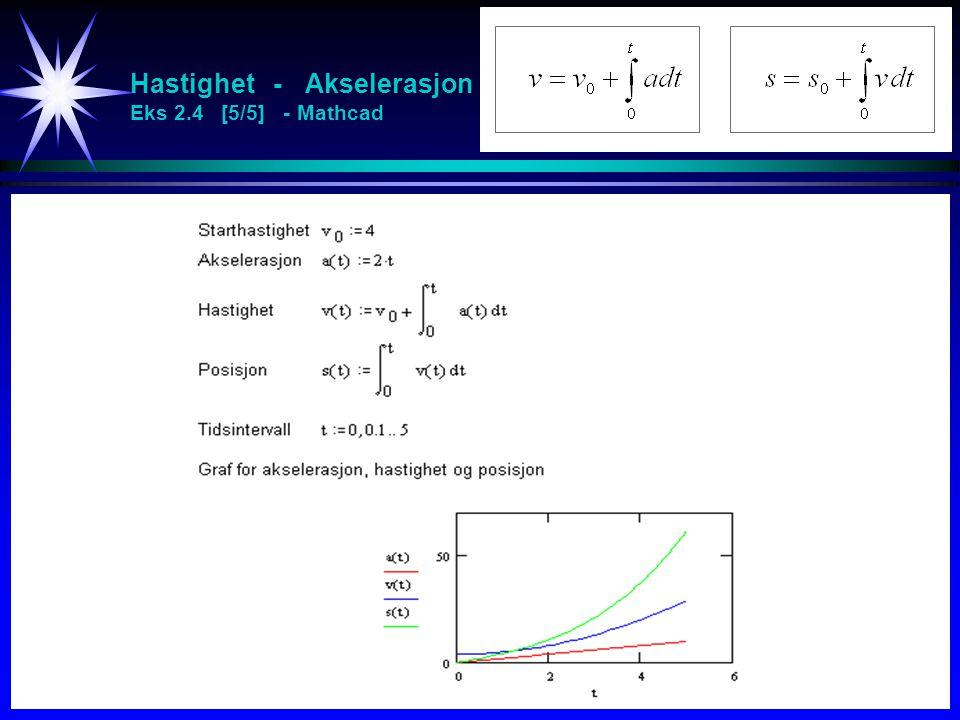 Hastighet - Akselerasjon Eks 2.4 [5/5] - Mathcad