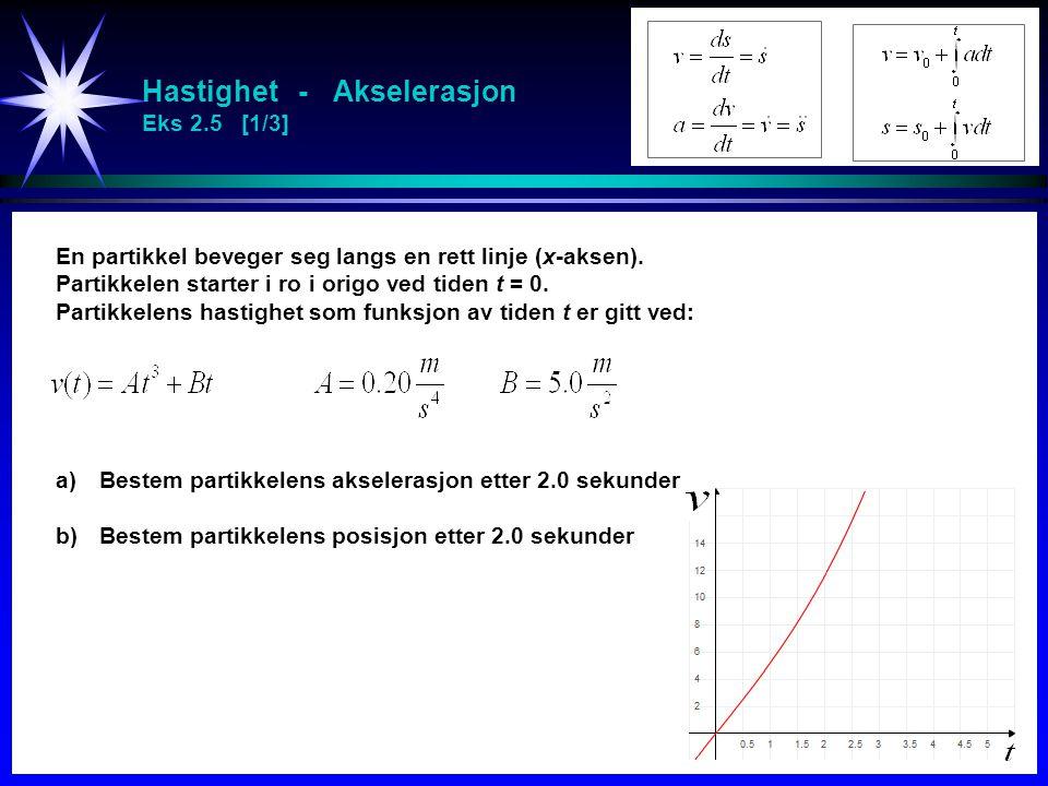 Hastighet - Akselerasjon Eks 2.5 [1/3] En partikkel beveger seg langs en rett linje (x-aksen). Partikkelen starter i ro i origo ved tiden t = 0. Parti