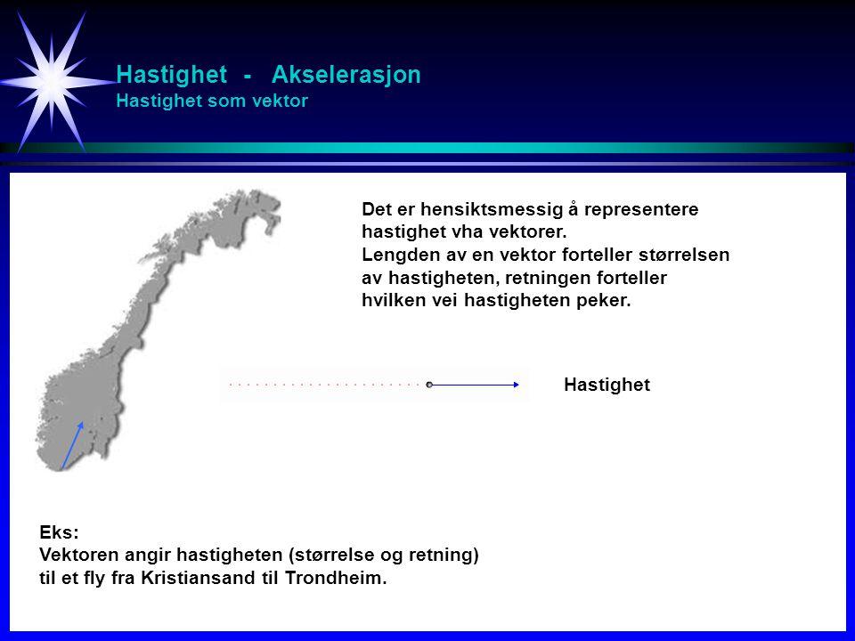 Hastighet - Akselerasjon Hastighet som vektor Eks: Vektoren angir hastigheten (størrelse og retning) til et fly fra Kristiansand til Trondheim. Det er