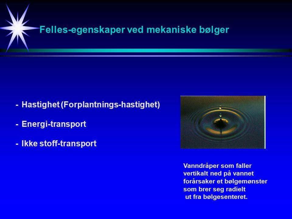 Felles-egenskaper ved mekaniske bølger -Hastighet (Forplantnings-hastighet) -Energi-transport -Ikke stoff-transport Vanndråper som faller vertikalt ne