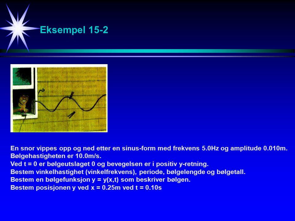 Eksempel 15-2 En snor vippes opp og ned etter en sinus-form med frekvens 5.0Hz og amplitude 0.010m. Bølgehastigheten er 10.0m/s. Ved t = 0 er bølgeuts