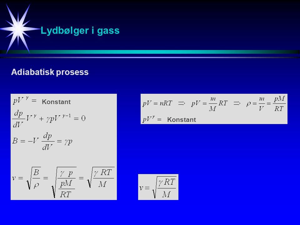 Lydbølger i gass Adiabatisk prosess Konstant