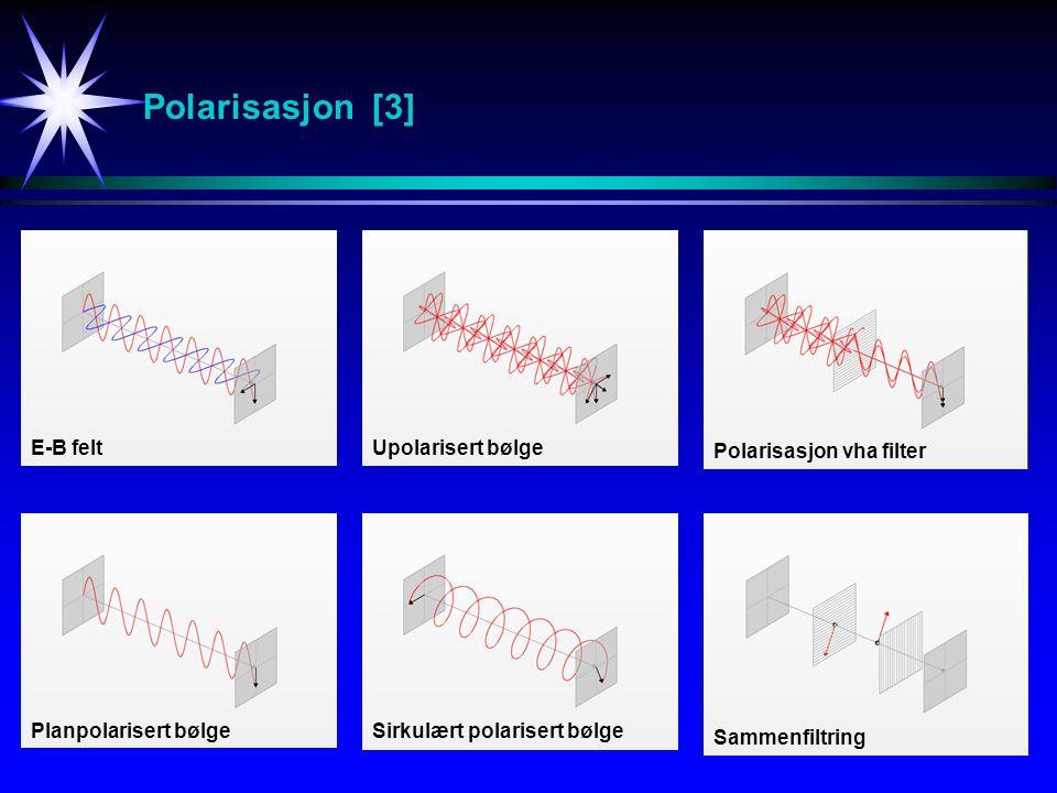 Polarisasjon [3] E-B feltUpolarisert bølge Polarisasjon vha filter Planpolarisert bølgeSirkulært polarisert bølge Sammenfiltring