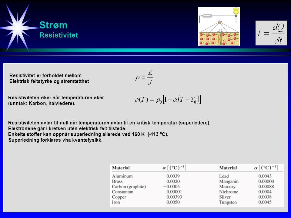 Strøm Resistivitet Resistiviteten øker når temperaturen øker (unntak: Karbon, halvledere). Resistiviteten avtar til null når temperaturen avtar til en