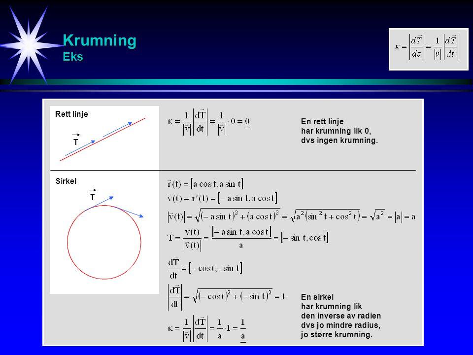 Krumning Eks T T Rett linje Sirkel En rett linje har krumning lik 0, dvs ingen krumning. En sirkel har krumning lik den inverse av radien dvs jo mindr