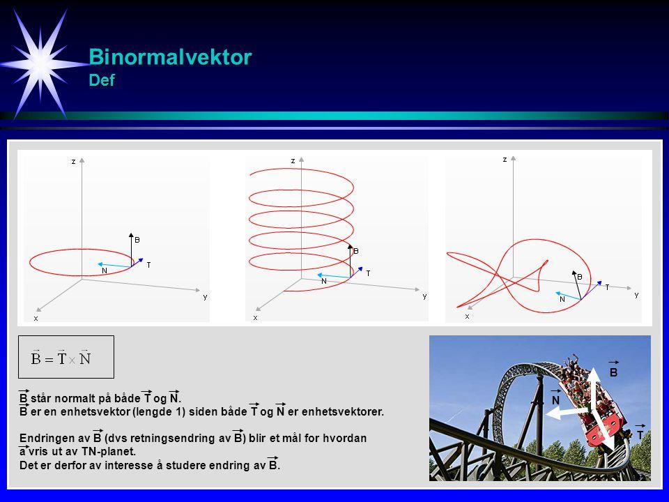 Binormalvektor Def B står normalt på både T og N. B er en enhetsvektor (lengde 1) siden både T og N er enhetsvektorer. Endringen av B (dvs retningsend