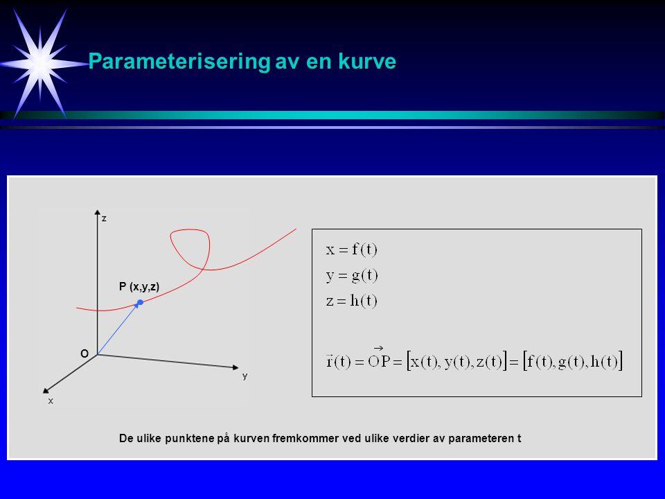 Parameterisering av en kurve P (x,y,z) O De ulike punktene på kurven fremkommer ved ulike verdier av parameteren t