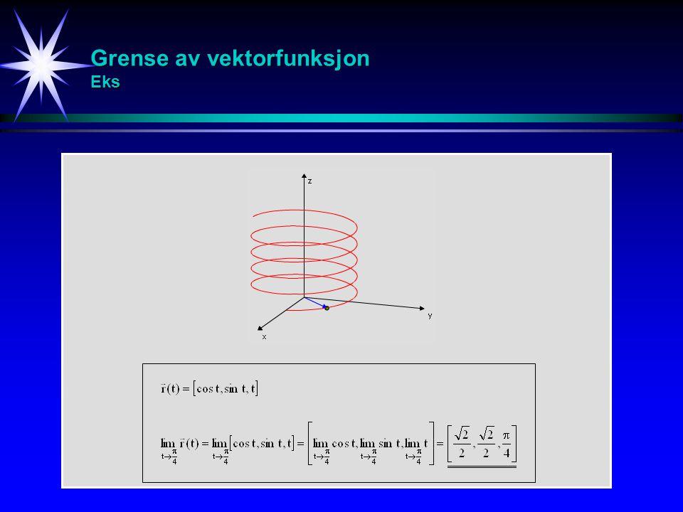 Kontinuerlig vektorfunksjon Def M r(t) L En vektorfunksjon kalles kontinuerlig i et punkt t = t 0 hvis: En vektorfunksjon kalles kontinuerlig hvis den er kontinuerlig i hele sin definisjonsmengde.