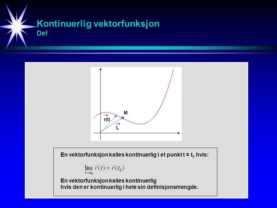 Kontinuerlig vektorfunksjon Def M r(t) L En vektorfunksjon kalles kontinuerlig i et punkt t = t 0 hvis: En vektorfunksjon kalles kontinuerlig hvis den