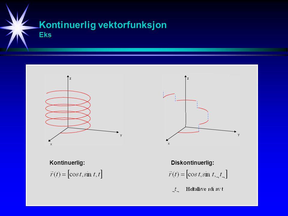 Derivasjon av vektorfunksjon Def r(t) r(t+  t) rr r(t) r'(t) En vektorfunksjon kalles deriverbar hvis den deriverte eksisterer i hvert punkt i sitt domene.