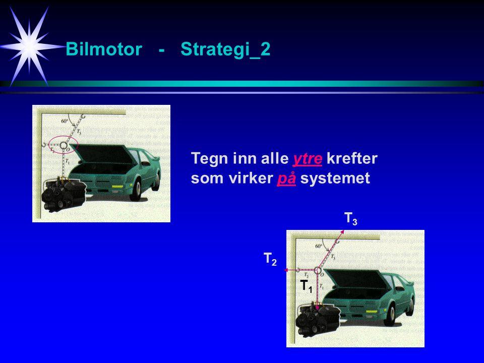 Bilmotor - Strategi_2 Tegn inn alle ytre krefter som virker på systemet T1T1 T2T2 T3T3