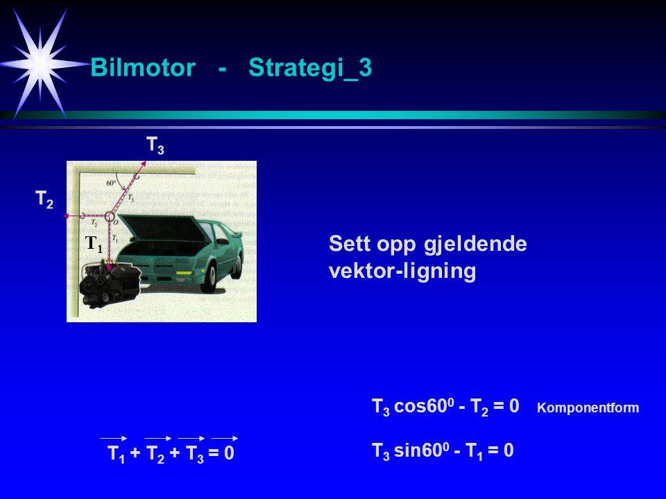 Bilmotor - Strategi_3 Sett opp gjeldende vektor-ligning T1T1 T2T2 T3T3 T 1 + T 2 + T 3 = 0 T3 T3 cos60 0 - T2 T2 = 0 T3 T3 sin60 0 - T1 T1 = 0 Komponentform