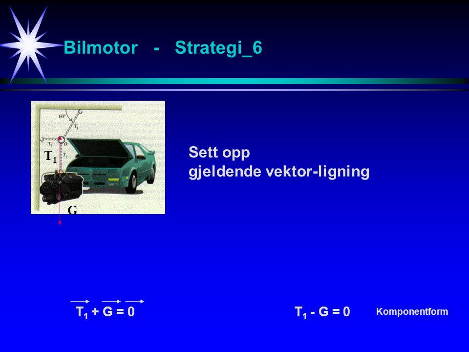 Bilmotor - Strategi_6 Sett opp gjeldende vektor-ligning G T1T1 T 1 + G = 0T 1 - G = 0 Komponentform