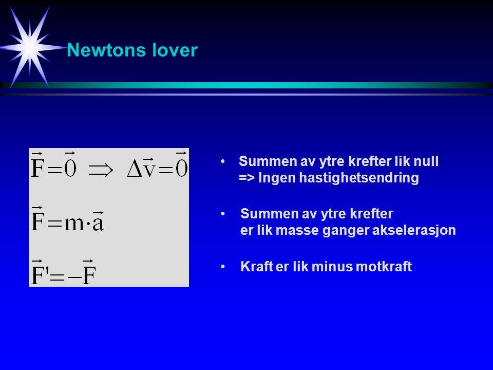 Newtons lover Summen av ytre krefter lik null => Ingen hastighetsendring Summen av ytre krefter er lik masse ganger akselerasjon Kraft er lik minus motkraft