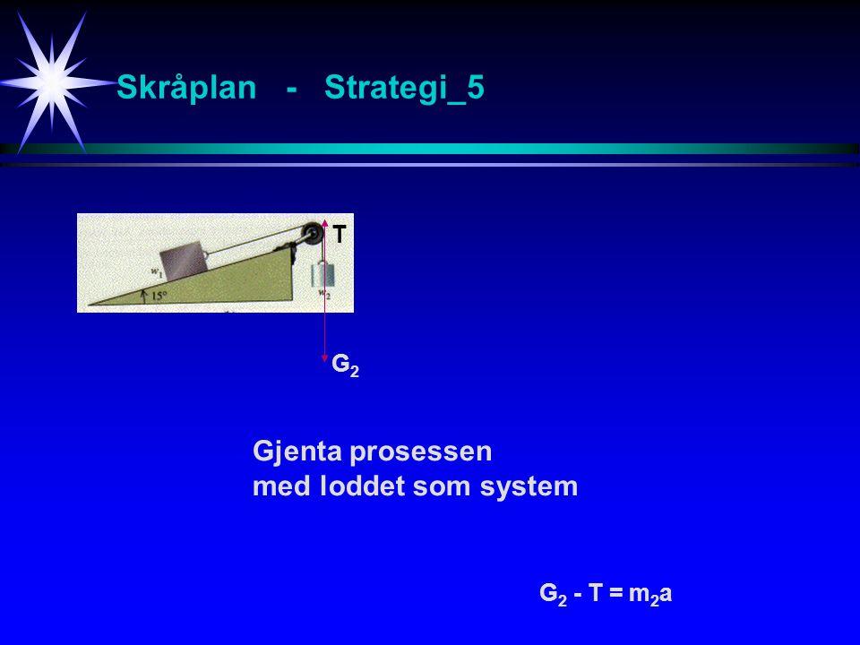 Skråplan - Strategi_5 G Gjenta prosessen med loddet som system G2G2 G 2 - T = m 2 a T