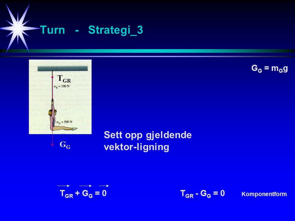 Turn - Strategi_3 Sett opp gjeldende vektor-ligning G T GR T GR + G G = 0T GR - G G = 0 Komponentform G G = m G g