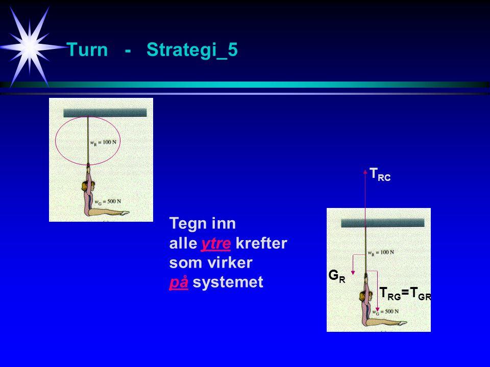 Turn - Strategi_5 Tegn inn alle ytre krefter som virker på systemet GRGR T RC T RG =T GR