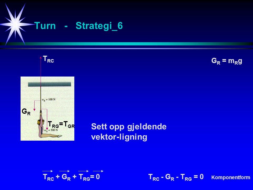 Turn - Strategi_6 Sett opp gjeldende vektor-ligning T RC + G R + T RG = 0T RC - G R - T RG = 0 Komponentform G R = m R g GRGR T RC T RG =T GR