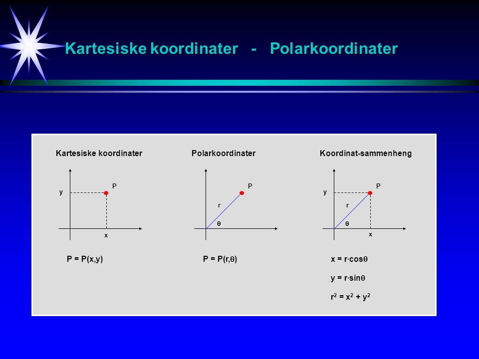 Kartesiske koordinater - Polarkoordinater P x y P r  Kartesiske koordinaterPolarkoordinater P r y  x = r·cos  y = r·sin  r 2 = x 2 + y 2 x P = P(x