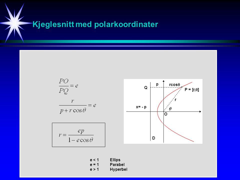 Kjeglesnitt med polarkoordinater P = [r,  ] r D p x= - p rcos  e < 1Ellips e = 1 Parabel e > 1 Hyperbel O Q
