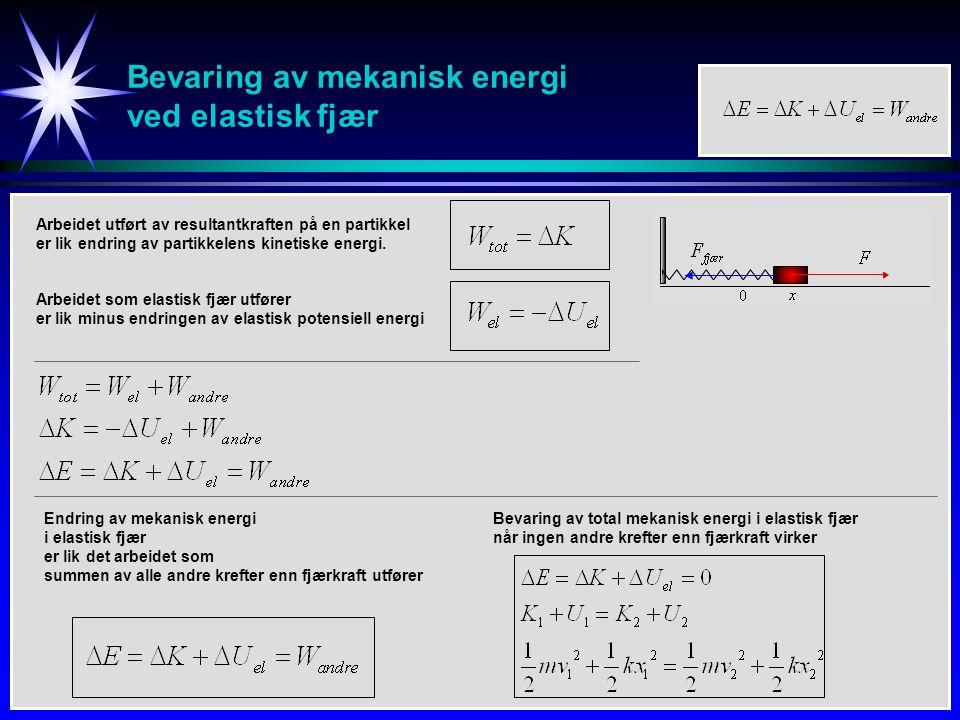Bevaring av mekanisk energi ved elastisk fjær Bevaring av total mekanisk energi i elastisk fjær når ingen andre krefter enn fjærkraft virker Arbeidet