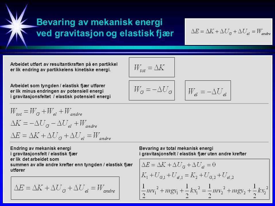 Bevaring av mekanisk energi ved gravitasjon og elastisk fjær Bevaring av total mekanisk energi i gravitasjonsfelt / elastisk fjær uten andre krefter A