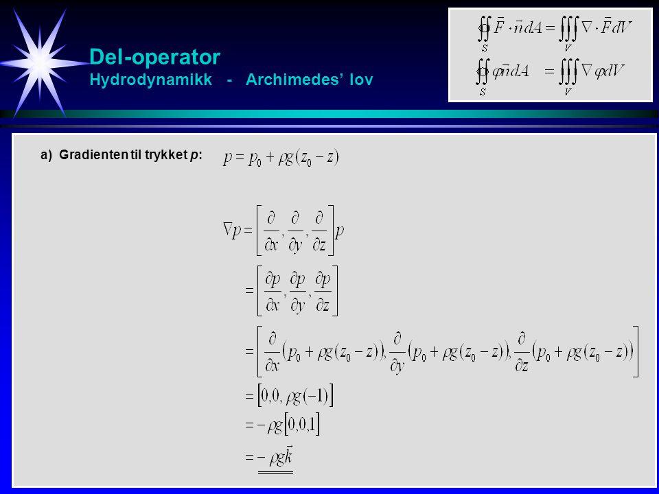 Del-operator Hydrodynamikk - Archimedes' lov a) Gradienten til trykket p: