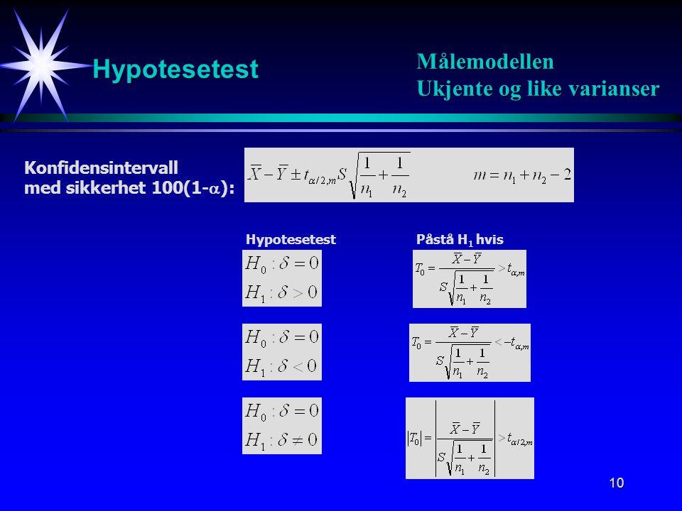 11 Hypotesetest Målemodellen Ukjente og like varianser Eks: Bensinforbruk Konfidensintervall med sikkerhet 100(1-  ): Hypotesetest: Påstå H 1 hvis: Konklusjon :Vi påstår ikke H 1 Standardestimator for  2 :