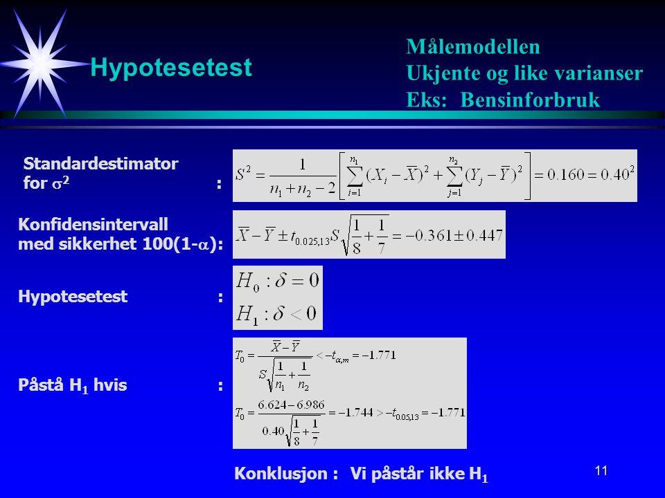12 Binomisk modell Konfidensintervall med sikkerhet 100(1-  ): Forventning Varians: Binomisk fordeling: Estimator: Estimator for forskjellen: