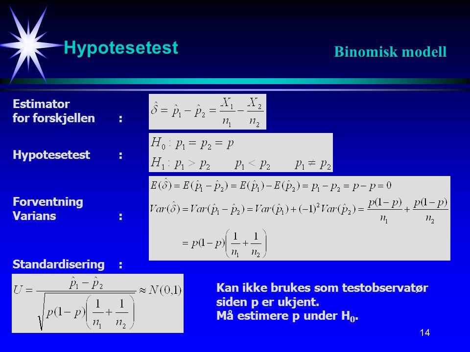 15 Hypotesetest Binomisk modell Påstår H 1 dersom : Estimator for p: Estimator for forskjellen: Standardisering: Hypotesetest: