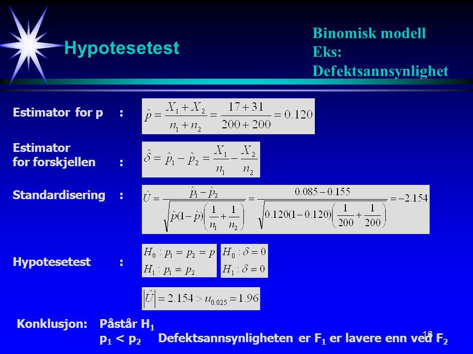 17 Hypergeometrisk modell Konfidensintervall med sikkerhet 100(1-  ): Forventning Varians: Binomisk fordeling: Estimator: Estimator for forskjellen: