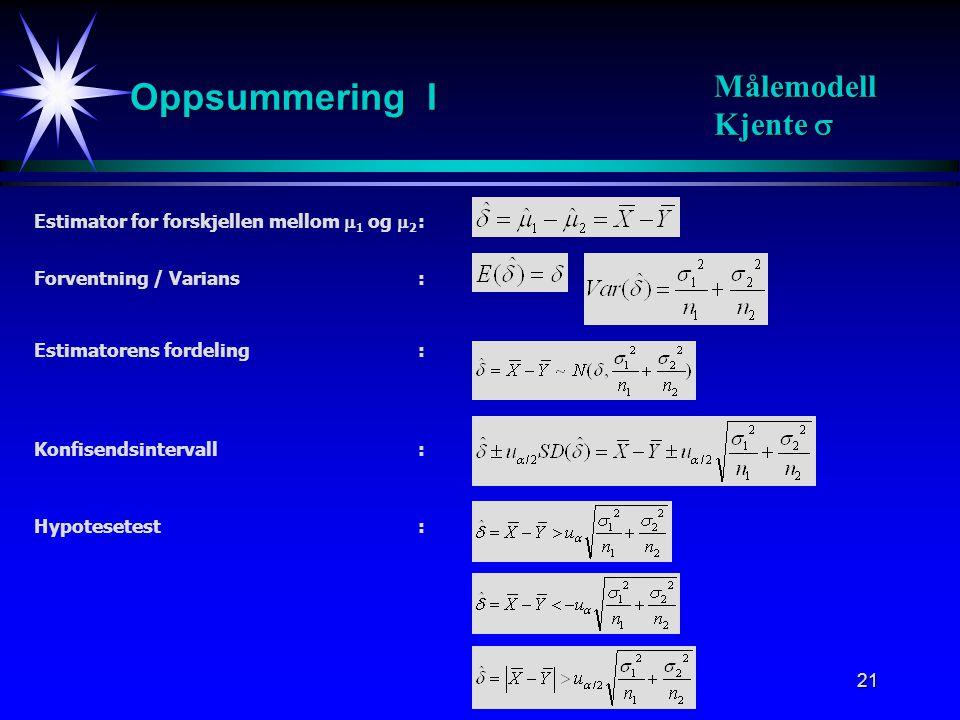 22 Estimatorens fordeling: Standardisering: Standardestimator for  2 : t-fordeling med m = n 1 +n 2 -2 frihetsgrader: Oppsummering II Målemodell Ukjente, like  Konfidensintervall: Hypotesetest: